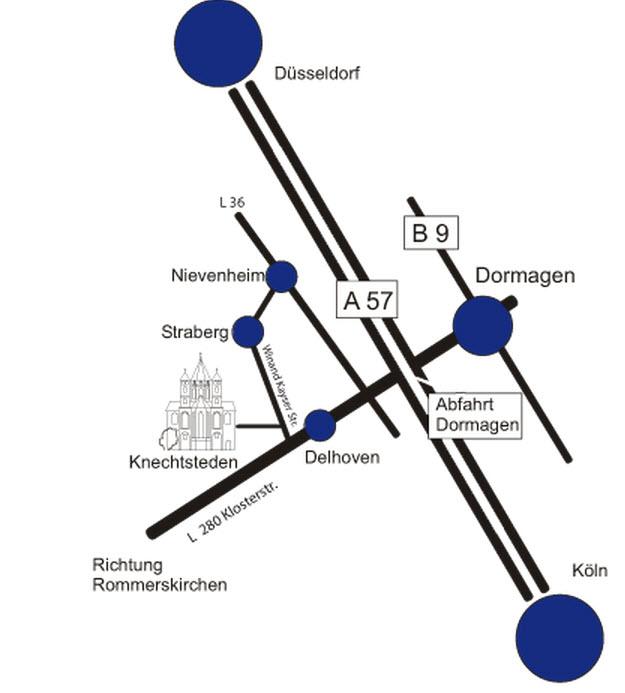 Geographische Lage des ZVA-Bildungszentrum in Dormagen-Knechtsteden