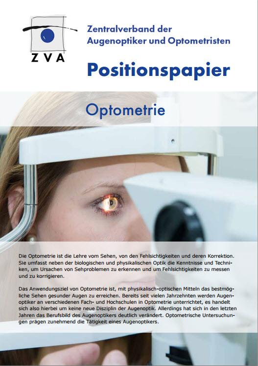 Titelbild des Positionspapieres Optometrie des ZVA